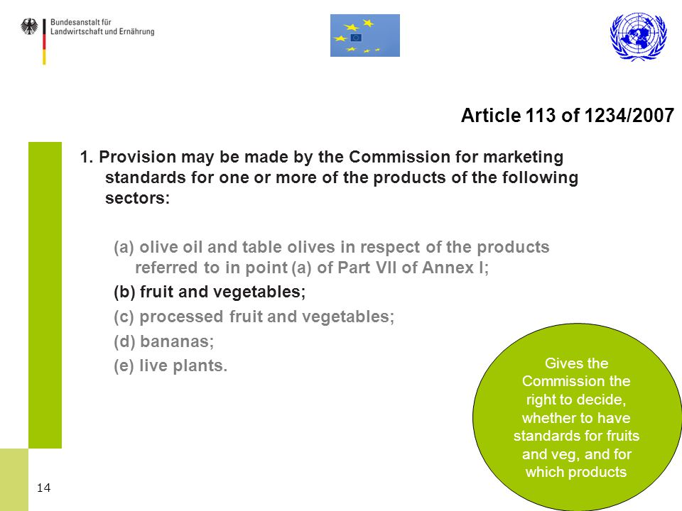14 1. Provision may be made by the Commission for marketing standards for one or more of the products of the following sectors: (a) olive oil and tabl
