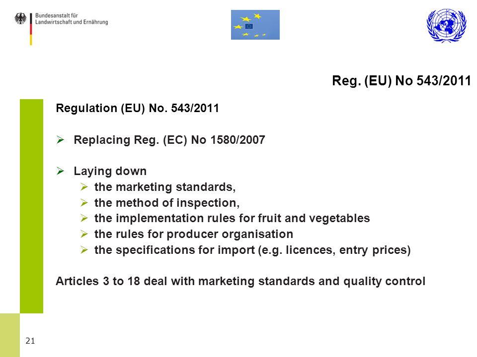 21 Regulation (EU) No. 543/2011  Replacing Reg.
