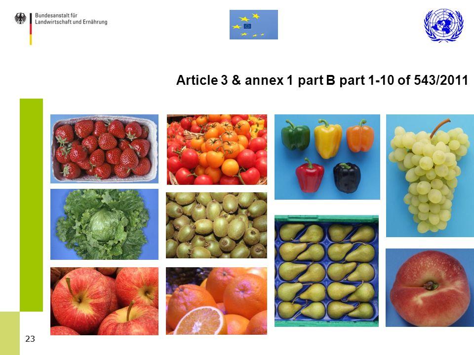 23 Article 3 & annex 1 part B part 1-10 of 543/2011