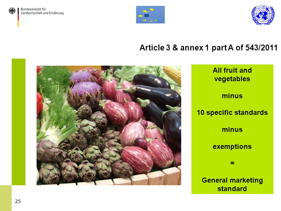 25 All fruit and vegetables minus 10 specific standards minus exemptions = General marketing standard Article 3 & annex 1 part A of 543/2011