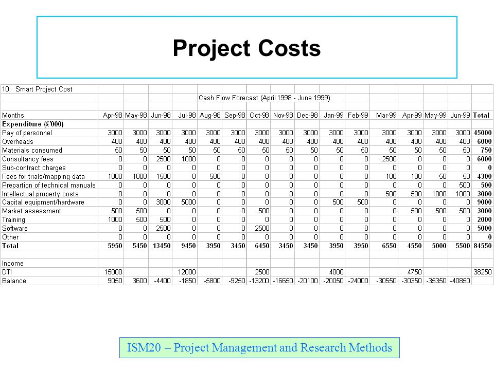 ISM20 – Project Management and Research Methods Project Costs