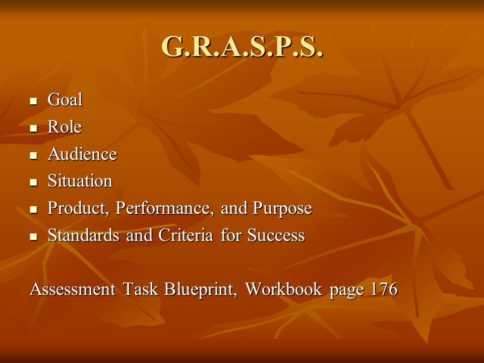 G.R.A.S.P.S. Goal Goal Role Role Audience Audience Situation Situation Product, Performance, and Purpose Product, Performance, and Purpose Standards a