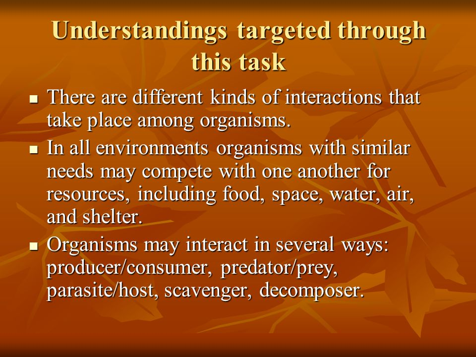 Understandings targeted through this task There are different kinds of interactions that take place among organisms.
