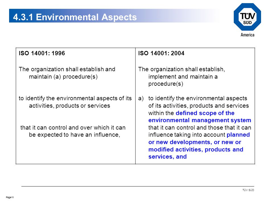 11Page TÜV SÜD 4.3.1 Environmental Aspects ISO 14001: 1996 The organization shall establish and maintain (a) procedure(s) to identify the environmental aspects of its activities, products or services that it can control and over which it can be expected to have an influence, ISO 14001: 2004 The organization shall establish, implement and maintain a procedure(s) a)to identify the environmental aspects of its activities, products and services within the defined scope of the environmental management system that it can control and those that it can influence taking into account planned or new developments, or new or modified activities, products and services, and