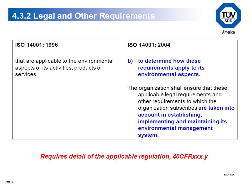 14Page TÜV SÜD 4.3.2 Legal and Other Requirements ISO 14001: 1996 that are applicable to the environmental aspects of its activities, products or services.