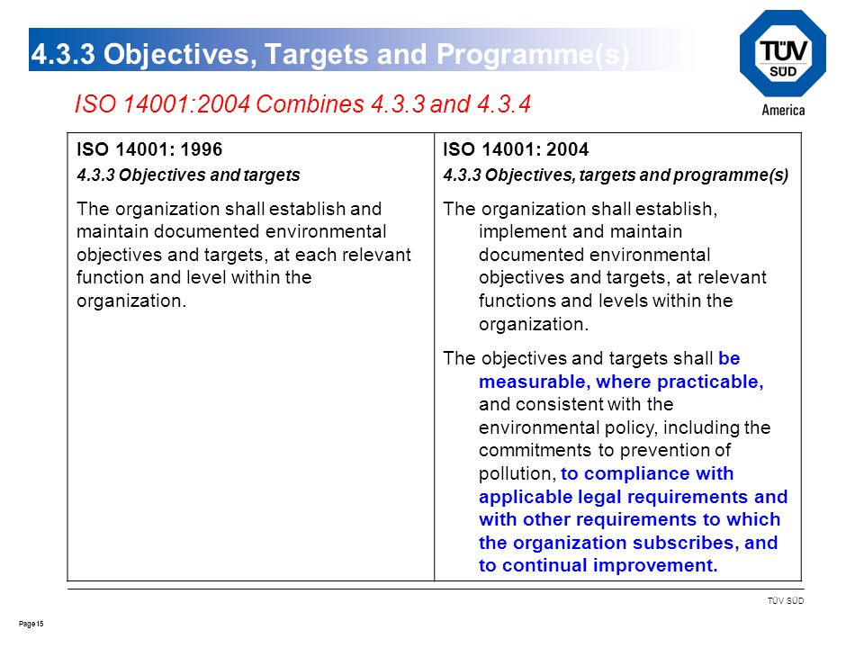 15Page TÜV SÜD 4.3.3 Objectives, Targets and Programme(s) ISO 14001: 1996 4.3.3 Objectives and targets The organization shall establish and maintain documented environmental objectives and targets, at each relevant function and level within the organization.