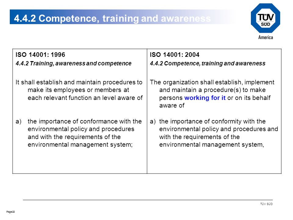 22Page TÜV SÜD 4.4.2 ISO 14001: 1996 4.4.2 Training, awareness and competence It shall establish and maintain procedures to make its employees or members at each relevant function an level aware of a)the importance of conformance with the environmental policy and procedures and with the requirements of the environmental management system; ISO 14001: 2004 4.4.2 Competence, training and awareness The organization shall establish, implement and maintain a procedure(s) to make persons working for it or on its behalf aware of a)the importance of conformity with the environmental policy and procedures and with the requirements of the environmental management system, 4.4.2 Competence, training and awareness