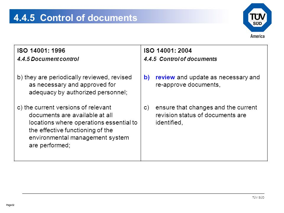 32Page TÜV SÜD 4.4.5 Control of documents ISO 14001: 1996 4.4.5 Document control b) they are periodically reviewed, revised as necessary and approved for adequacy by authorized personnel; c) the current versions of relevant documents are available at all locations where operations essential to the effective functioning of the environmental management system are performed; ISO 14001: 2004 4.4.5 Control of documents b)review and update as necessary and re-approve documents, c)ensure that changes and the current revision status of documents are identified,