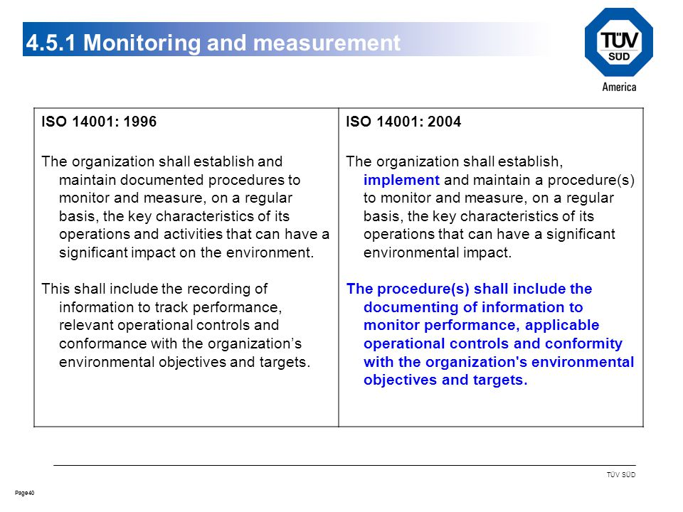 40Page TÜV SÜD 4.5.1 Monitoring and measurement ISO 14001: 1996 The organization shall establish and maintain documented procedures to monitor and measure, on a regular basis, the key characteristics of its operations and activities that can have a significant impact on the environment.