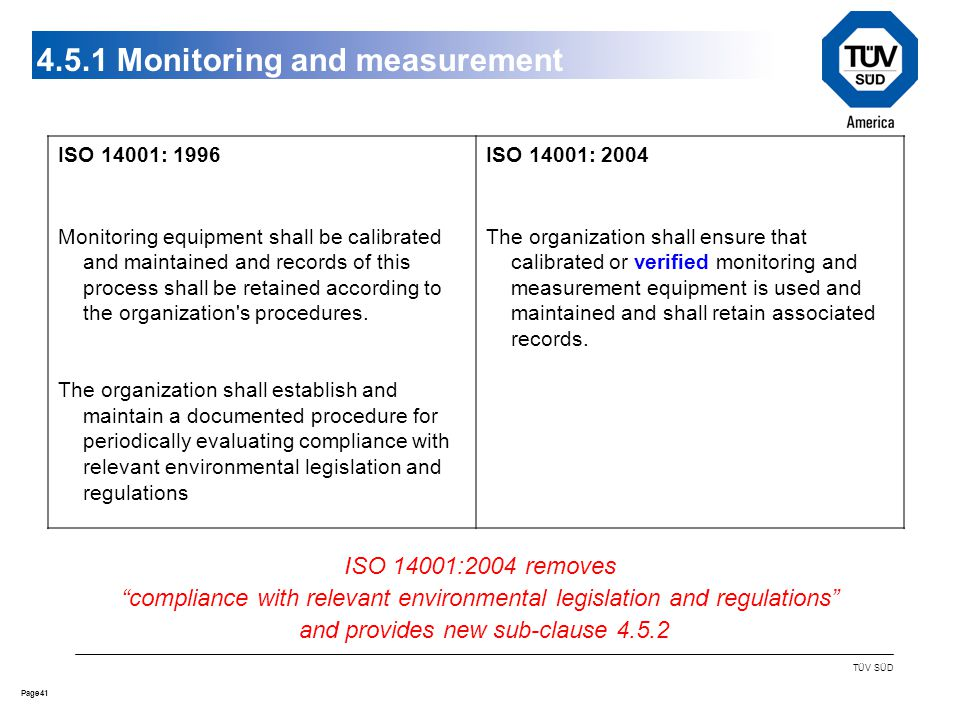 41Page TÜV SÜD 4.5.1 Monitoring and measurement ISO 14001: 1996 Monitoring equipment shall be calibrated and maintained and records of this process shall be retained according to the organization s procedures.