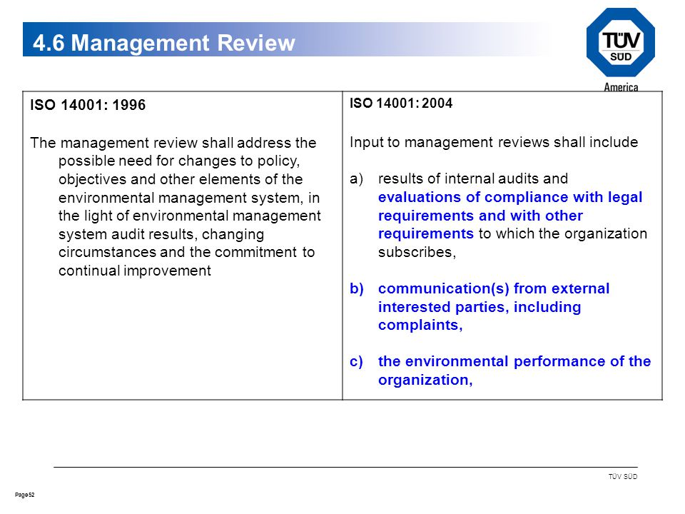 52Page TÜV SÜD 4.6 Management Review ISO 14001: 1996 The management review shall address the possible need for changes to policy, objectives and other elements of the environmental management system, in the light of environmental management system audit results, changing circumstances and the commitment to continual improvement ISO 14001: 2004 Input to management reviews shall include a)results of internal audits and evaluations of compliance with legal requirements and with other requirements to which the organization subscribes, b)communication(s) from external interested parties, including complaints, c)the environmental performance of the organization,