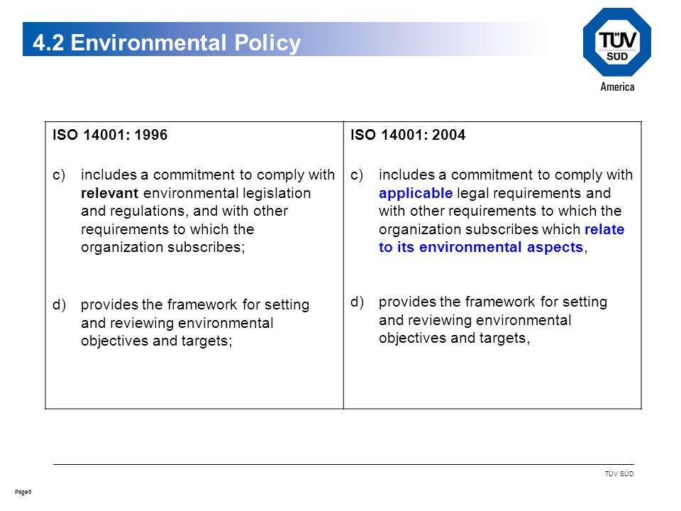 9Page TÜV SÜD 4.2 Environmental Policy ISO 14001: 1996 c)includes a commitment to comply with relevant environmental legislation and regulations, and with other requirements to which the organization subscribes; d)provides the framework for setting and reviewing environmental objectives and targets; ISO 14001: 2004 c)includes a commitment to comply with applicable legal requirements and with other requirements to which the organization subscribes which relate to its environmental aspects, d)provides the framework for setting and reviewing environmental objectives and targets,