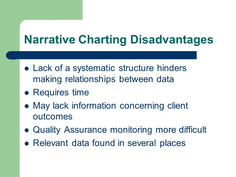 Narrative Charting Disadvantages Lack of a systematic structure hinders making relationships between data Requires time May lack information concernin