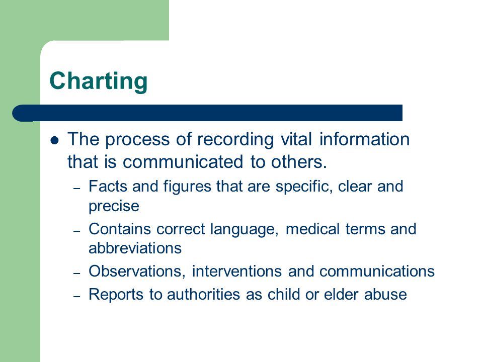 Charting The process of recording vital information that is communicated to others. – Facts and figures that are specific, clear and precise – Contain