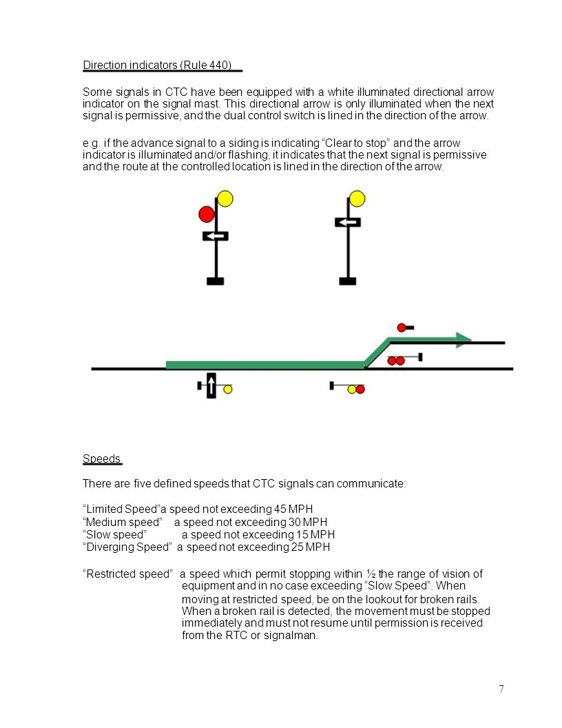Direction indicators (Rule 440) Some signals in CTC have been equipped with a white illuminated directional arrow indicator on the signal mast. This d