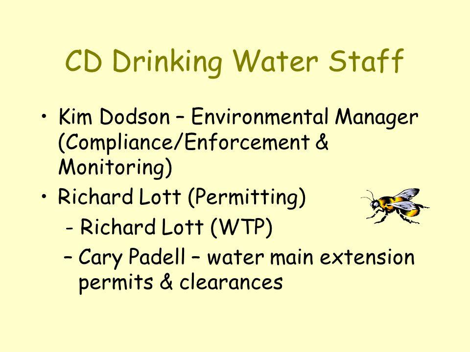 CD Drinking Water Staff Kim Dodson – Environmental Manager (Compliance/Enforcement & Monitoring) Richard Lott (Permitting) - Richard Lott (WTP) –Cary