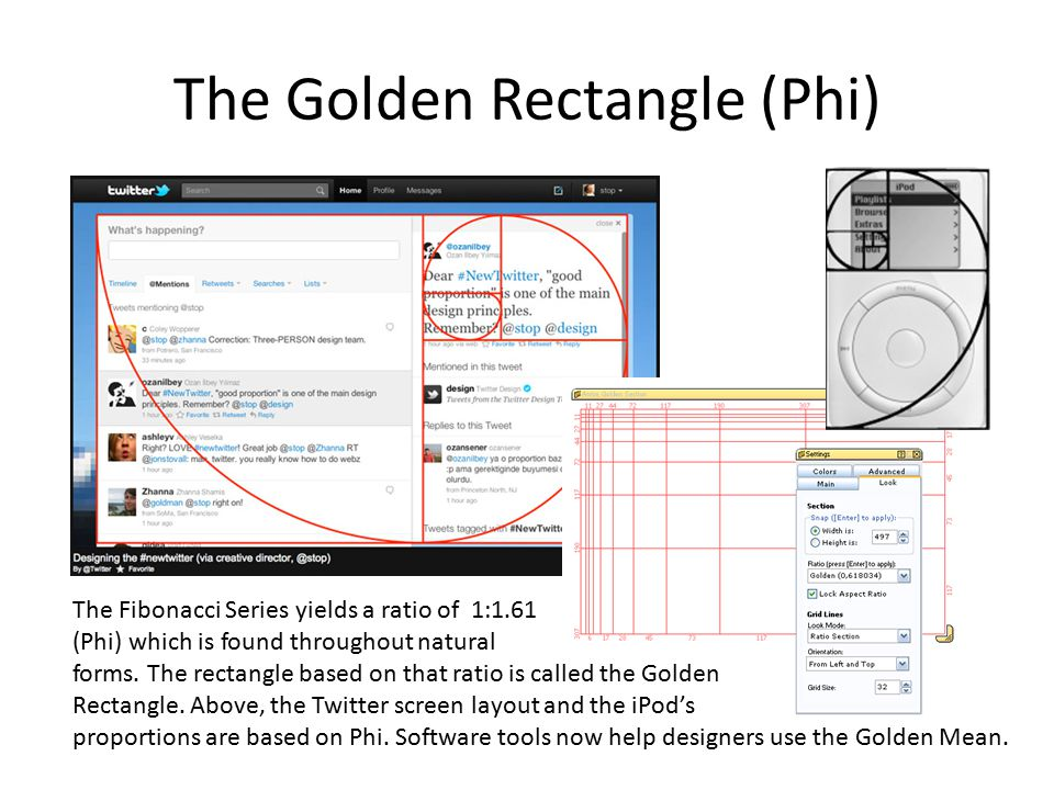 The Golden Rectangle (Phi) The Fibonacci Series yields a ratio of 1:1.61 (Phi) which is found throughout natural forms. The rectangle based on that ra