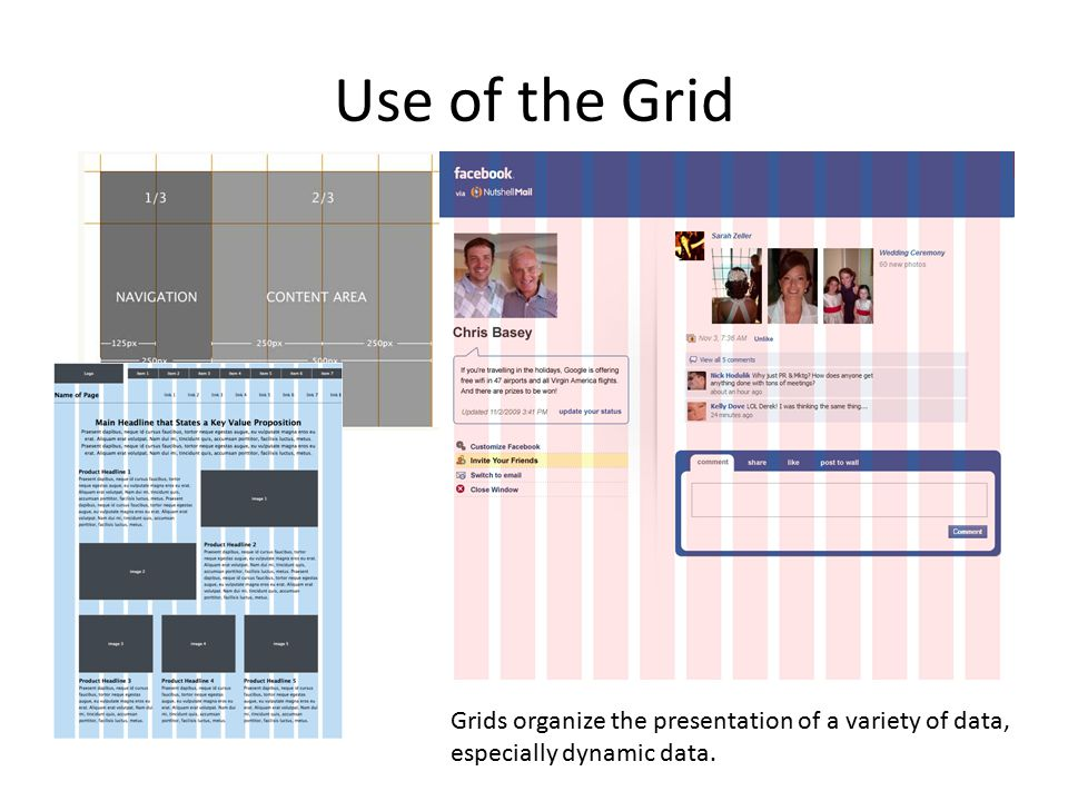 Use of the Grid Grids organize the presentation of a variety of data, especially dynamic data.