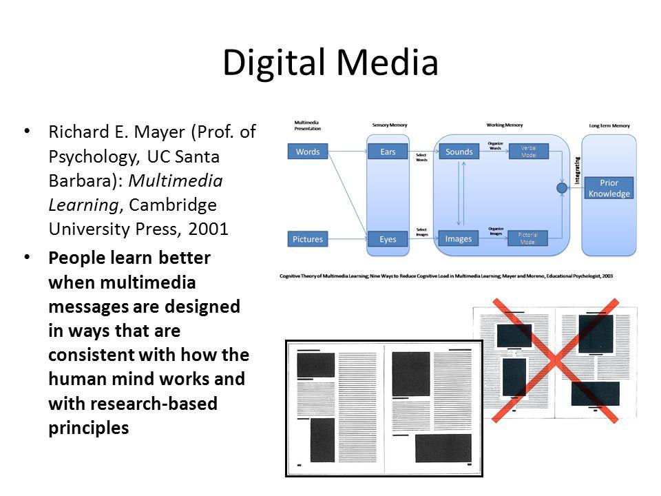 Digital Media Richard E. Mayer (Prof. of Psychology, UC Santa Barbara): Multimedia Learning, Cambridge University Press, 2001 People learn better when