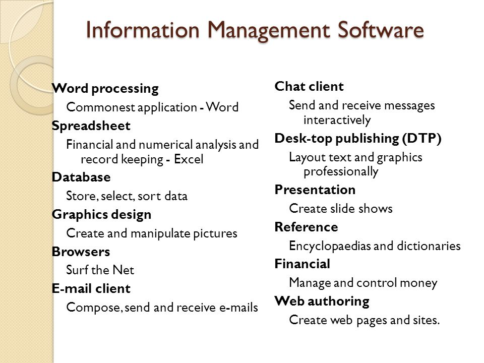 Higher Software Package Presenting information for print media Virtually all the applications described in INT 2 are designed to produce printed output except for graphics and web authoring which tend to be more visual.