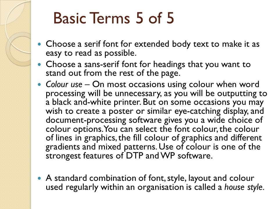 Basic terms Pagination – There are actually two types of pagination within word processors and DTP software.