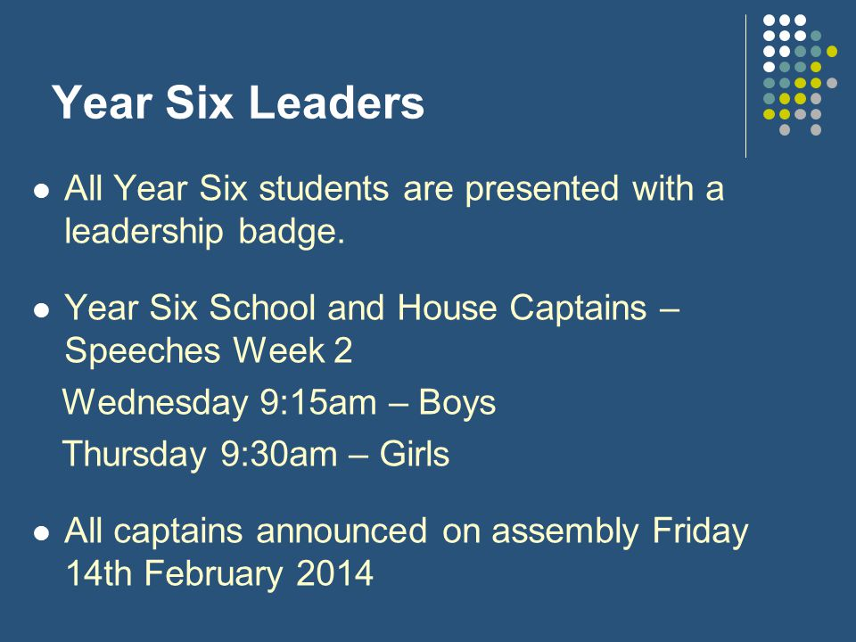 Year Six Leaders All Year Six students are presented with a leadership badge.