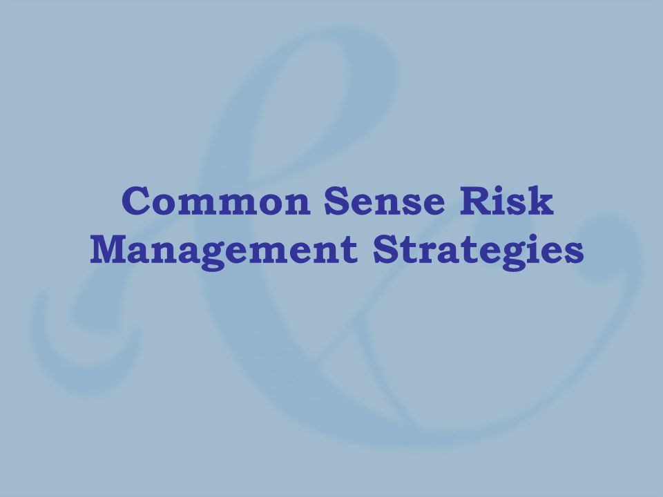 Common Sense Risk Management Strategies