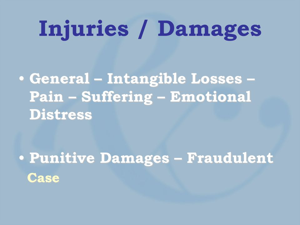 Injuries / Damages General – Intangible Losses – Pain – Suffering – Emotional Distress General – Intangible Losses – Pain – Suffering – Emotional Distress Punitive Damages – Fraudulent Punitive Damages – Fraudulent Case Case