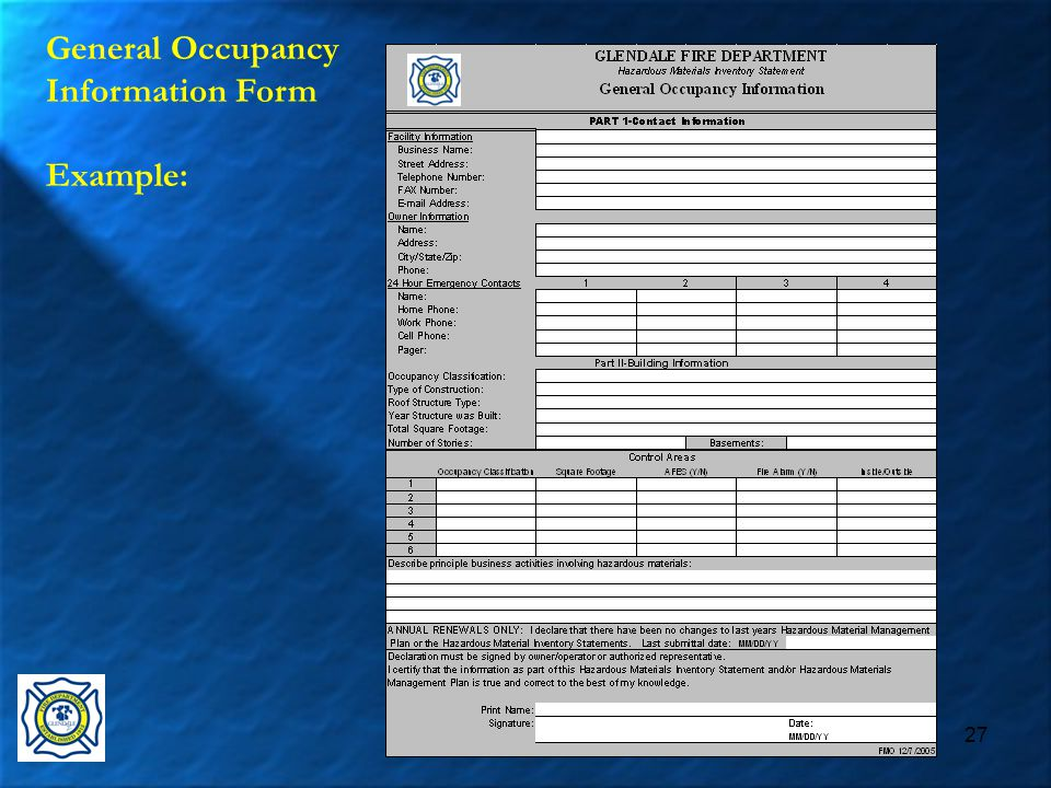 27 General Occupancy Information Form Example: