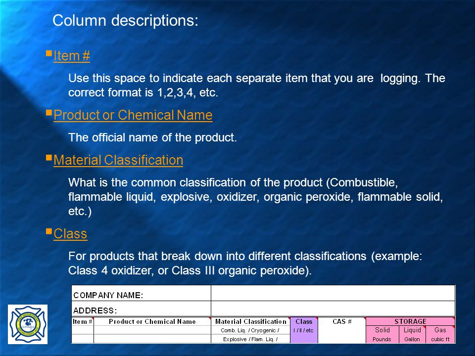 31  Item # Use this space to indicate each separate item that you are logging.