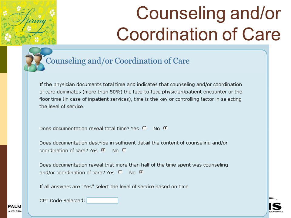 Counseling and/or Coordination of Care