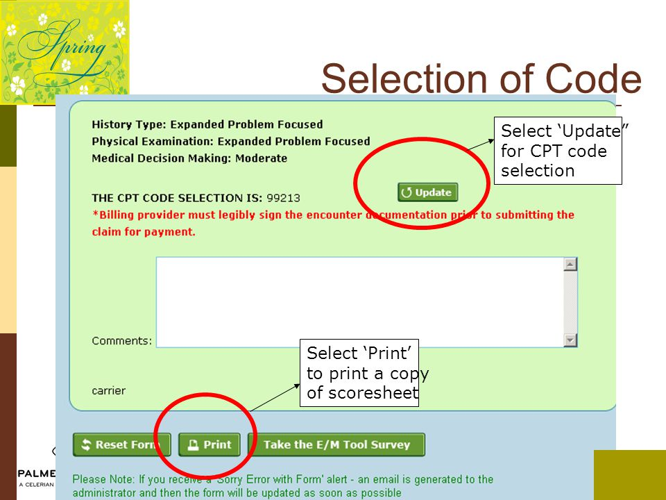 "Select 'Update"" for CPT code selection Select 'Print' to print a copy of scoresheet Selection of Code"
