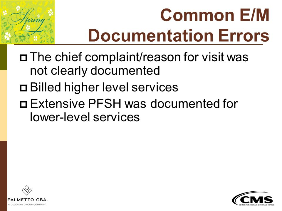 Common E/M Documentation Errors  The chief complaint/reason for visit was not clearly documented  Billed higher level services  Extensive PFSH was