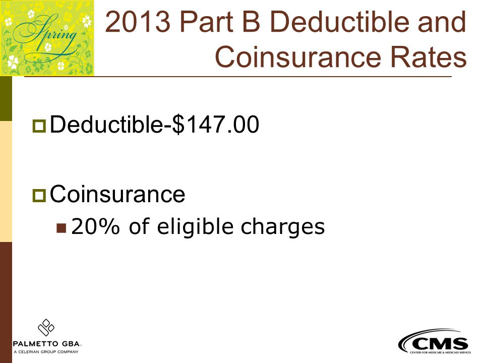 2013 Part B Deductible and Coinsurance Rates  Deductible-$147.00  Coinsurance 20% of eligible charges