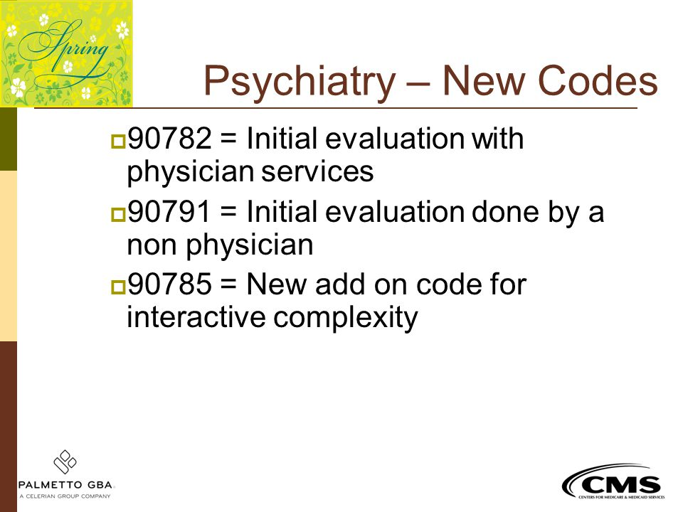 Psychiatry – New Codes  90782 = Initial evaluation with physician services  90791 = Initial evaluation done by a non physician  90785 = New add on