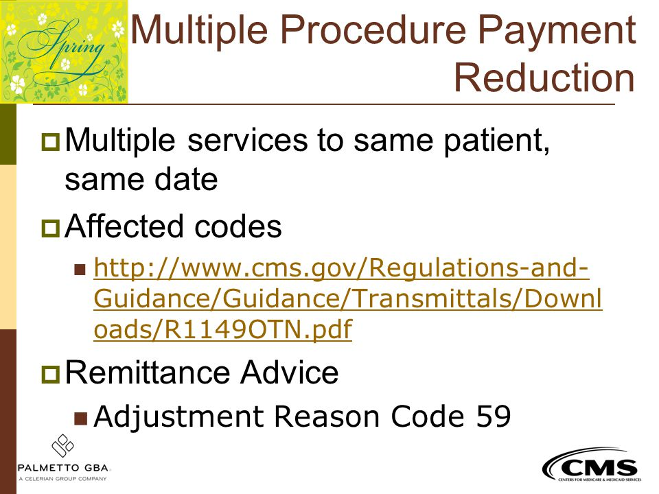 Multiple Procedure Payment Reduction  Multiple services to same patient, same date  Affected codes http://www.cms.gov/Regulations-and- Guidance/Guid