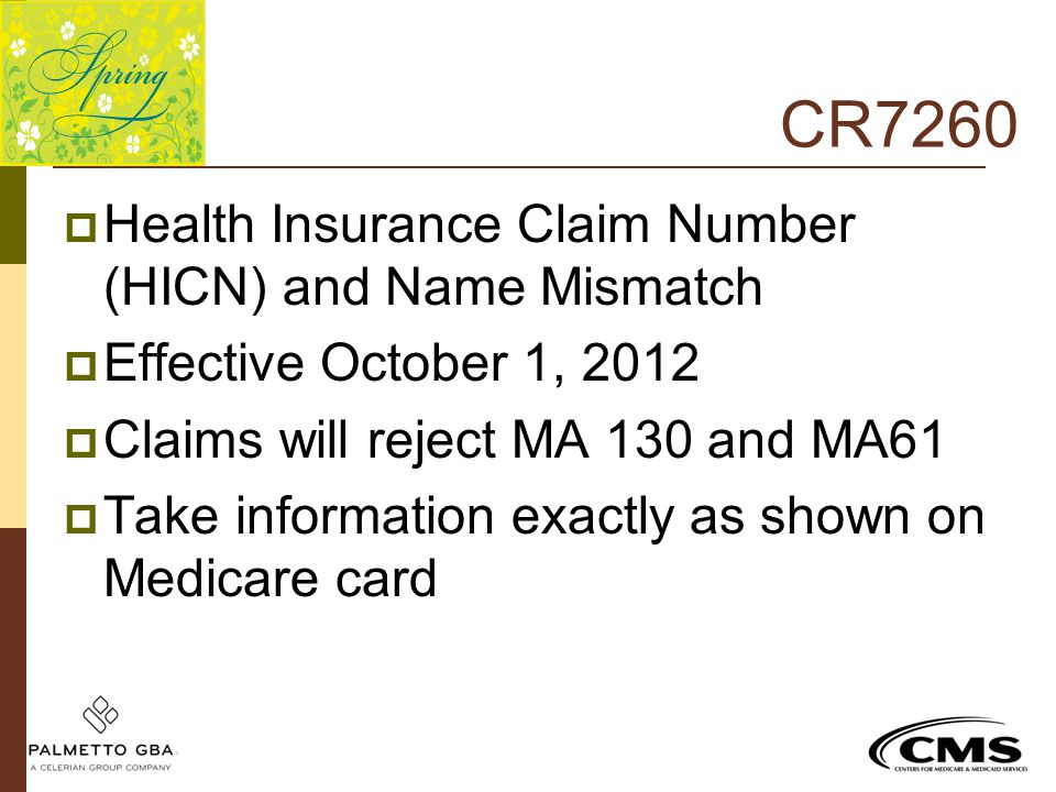 CR7260  Health Insurance Claim Number (HICN) and Name Mismatch  Effective October 1, 2012  Claims will reject MA 130 and MA61  Take information ex