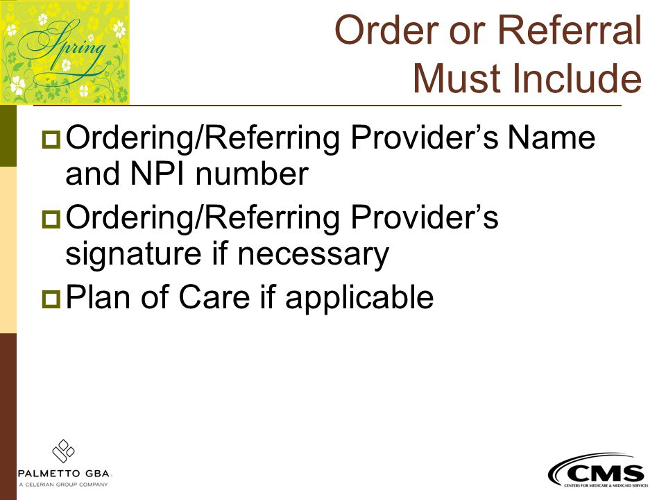Order or Referral Must Include  Ordering/Referring Provider's Name and NPI number  Ordering/Referring Provider's signature if necessary  Plan of Ca