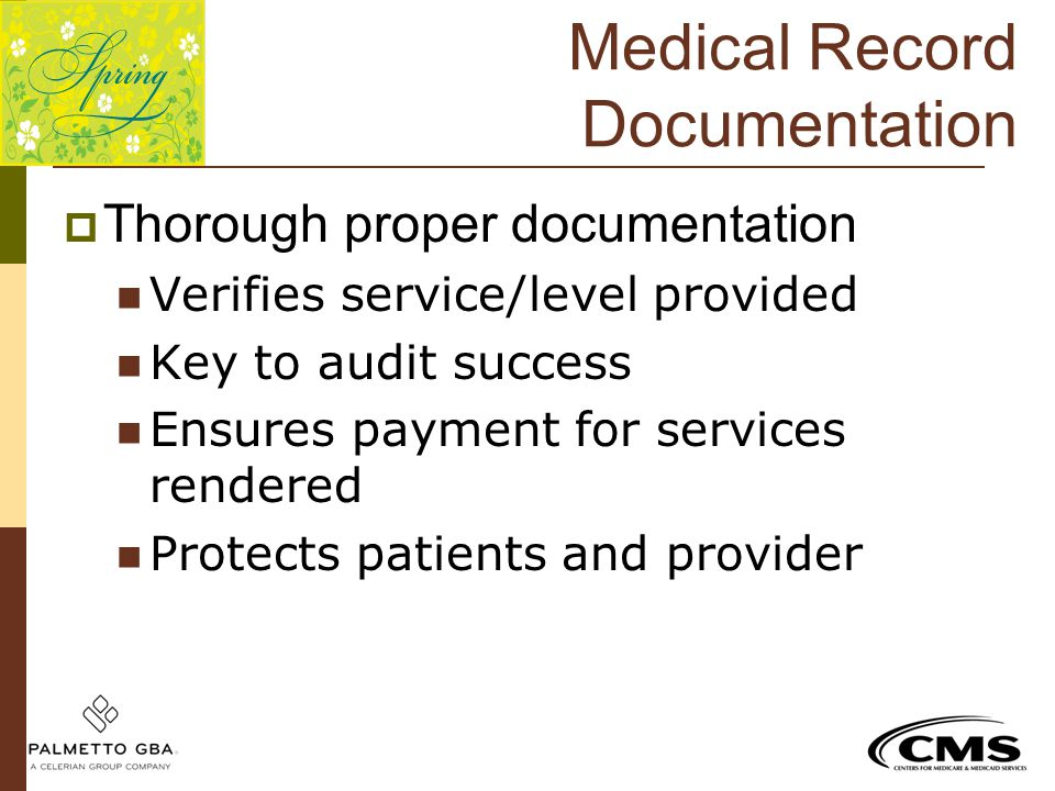 Medical Record Documentation  Thorough proper documentation Verifies service/level provided Key to audit success Ensures payment for services rendere