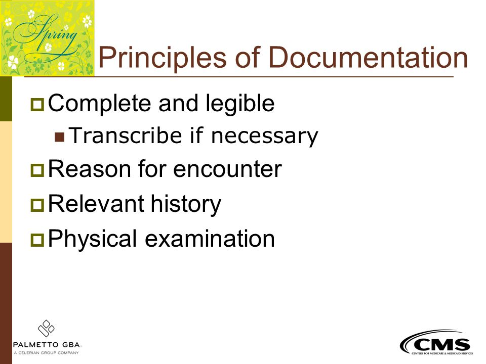 Principles of Documentation  Complete and legible Transcribe if necessary  Reason for encounter  Relevant history  Physical examination