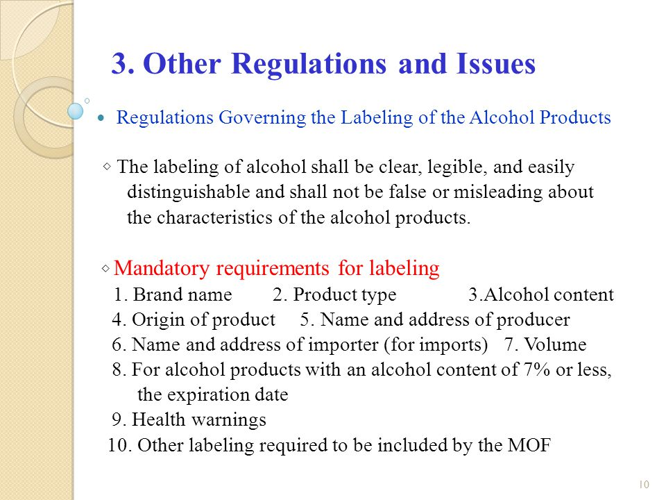 alcohol labelling requirements chile