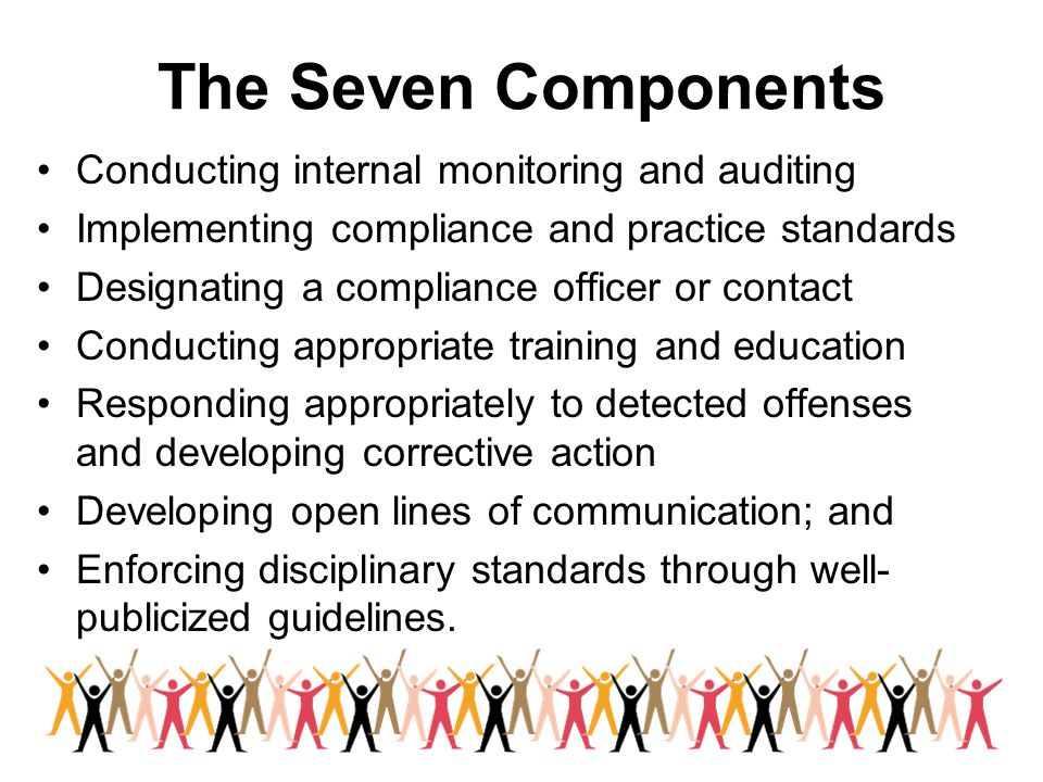 The Seven Components Conducting internal monitoring and auditing Implementing compliance and practice standards Designating a compliance officer or co