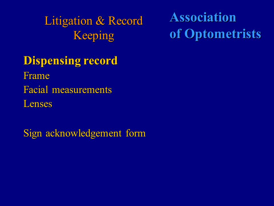 Association of Optometrists Litigation and Record keeping Supply of Contact lenses Supplier is now responsible for aftercare basic advice to be given to the patient on the following: the need for routine continuing contact lens carethe need for routine continuing contact lens care contact numbers/addresses for emergency care.contact numbers/addresses for emergency care.