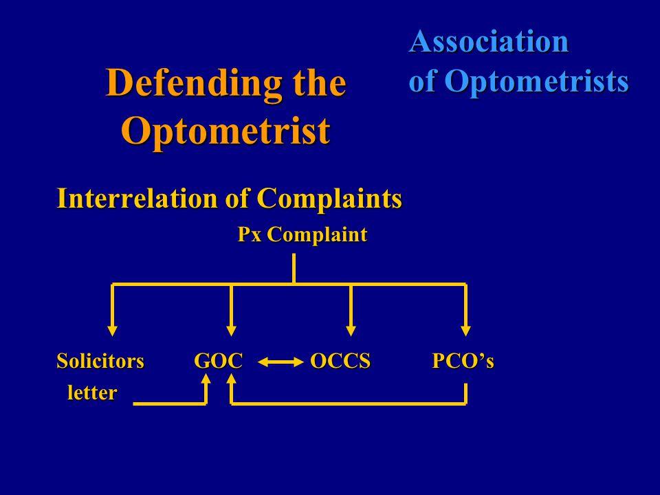 Association of Optometrists Defending the Optometrist Interrelation of Complaints Px Complaint Solicitors GOC OCCS PCO's letter letter