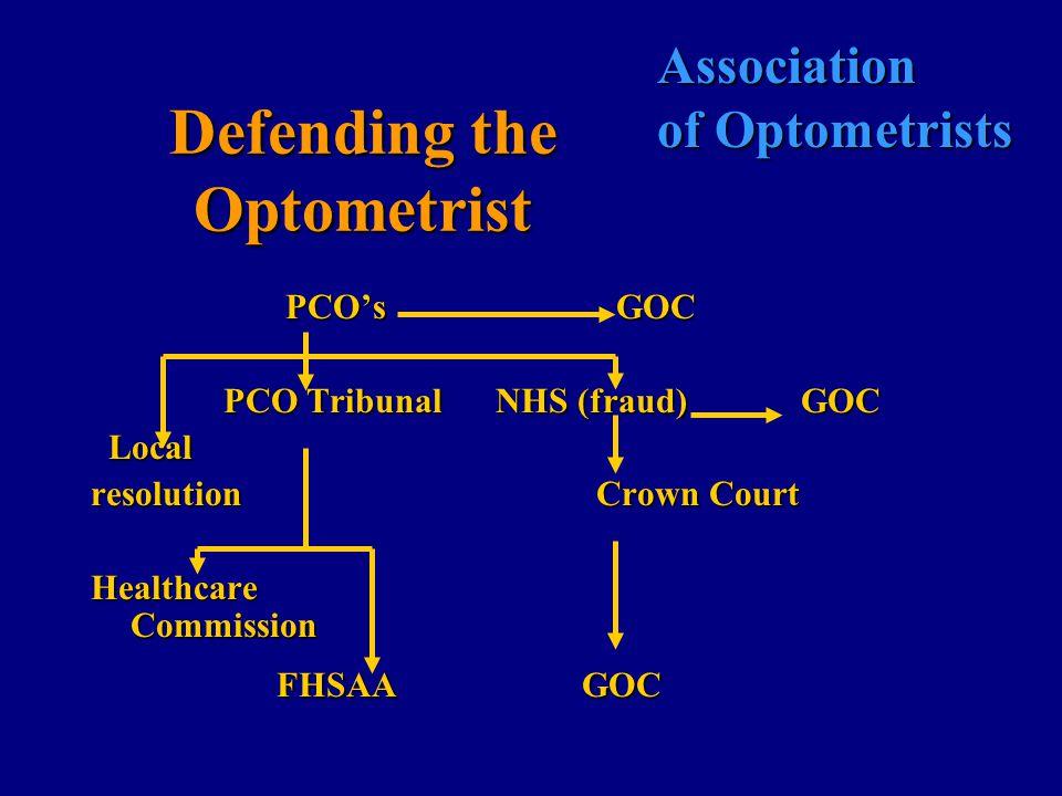 Association of Optometrists Defending the Optometrist PCO's GOC PCO's GOC PCO Tribunal NHS (fraud) GOC PCO Tribunal NHS (fraud) GOC Local Local resolution Crown Court Healthcare Commission FHSAA GOC FHSAA GOC