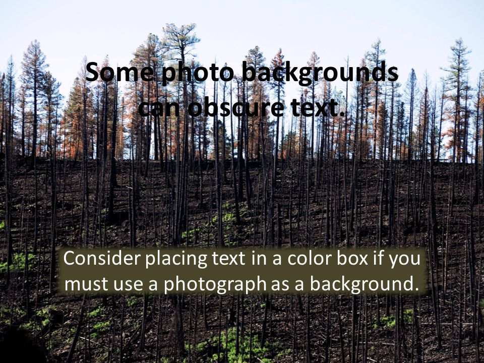 Avoid Busy Backgrounds Heavily textured and geometric backgrounds can obscure the text.
