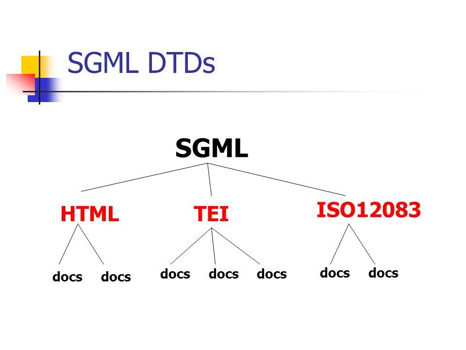 SGML HTML docs docsdocsdocs docs TEI ISO12083 SGML DTDs