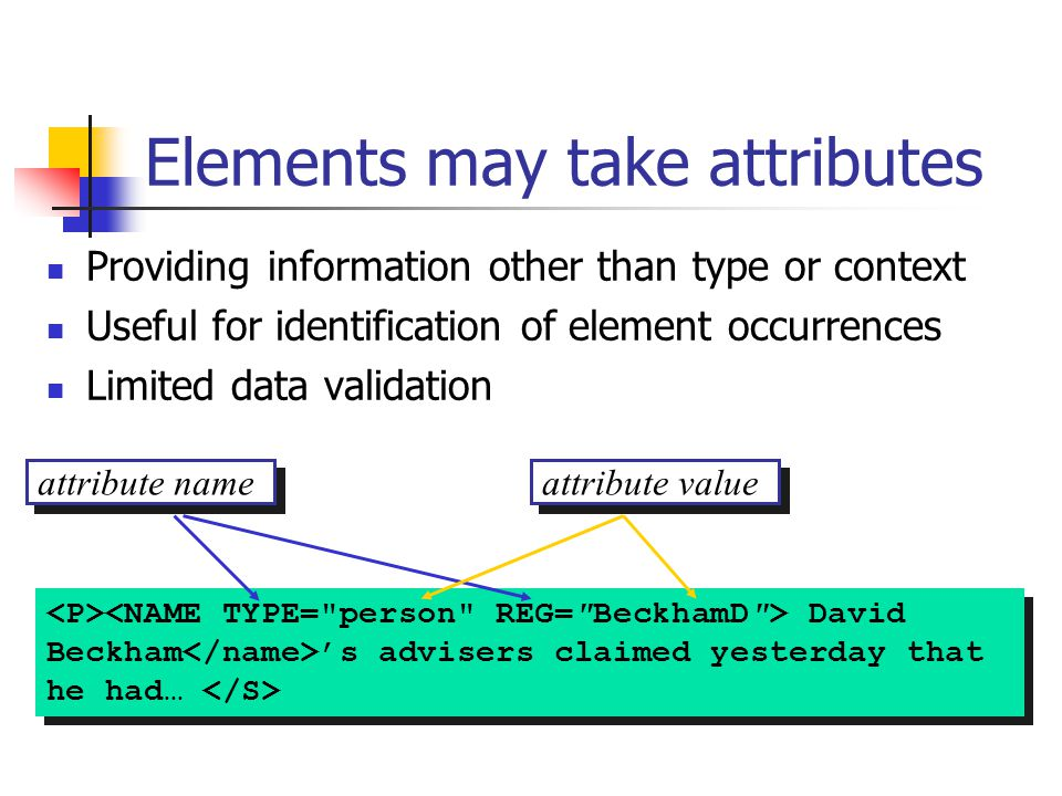 attribute name attribute value David Beckham 's advisers claimed yesterday that he had… Elements may take attributes Providing information other than