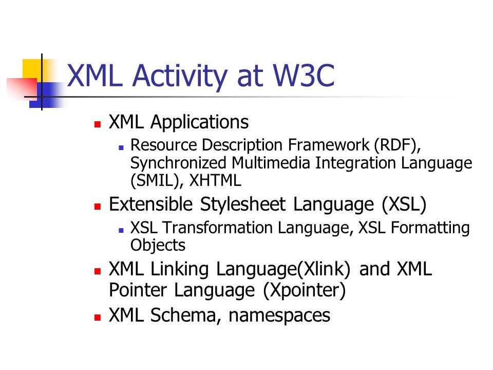 XML Activity at W3C XML Applications Resource Description Framework (RDF), Synchronized Multimedia Integration Language (SMIL), XHTML Extensible Style