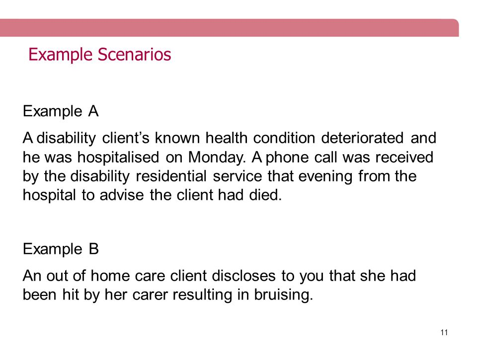 11 Example Scenarios Example A A disability client's known health condition deteriorated and he was hospitalised on Monday.